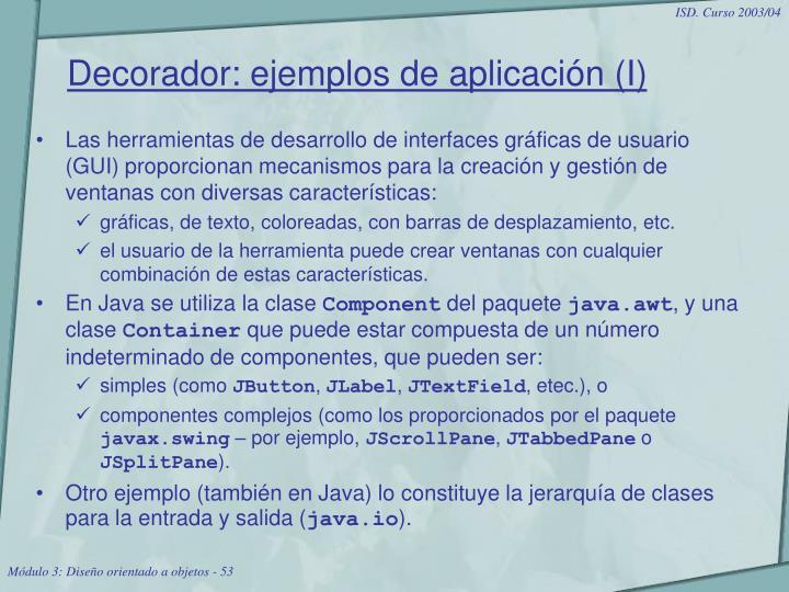 Decorador: ejemplos de aplicación (I)