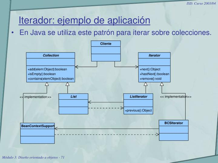 Iterador: ejemplo de aplicación