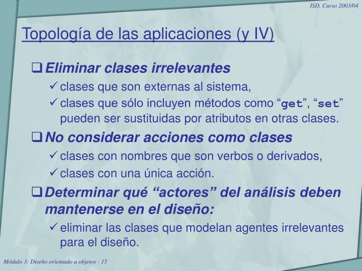 Topología de las aplicaciones (y IV)