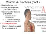 vitamin a functions cont