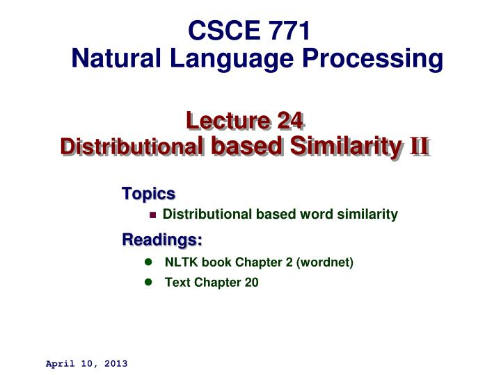 lecture 24 distributiona l based similarity ii