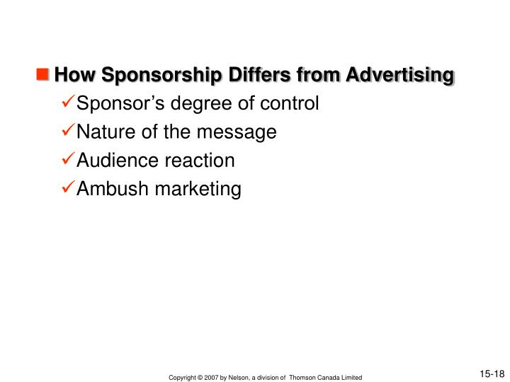 How Sponsorship Differs from Advertising