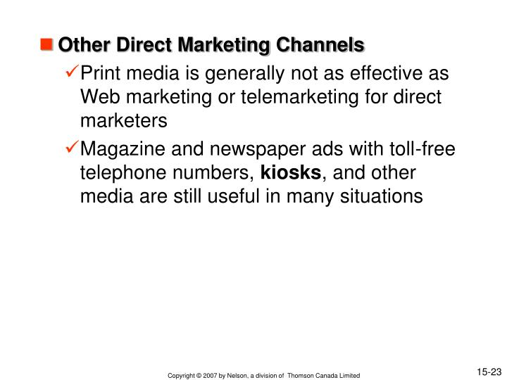 Other Direct Marketing Channels