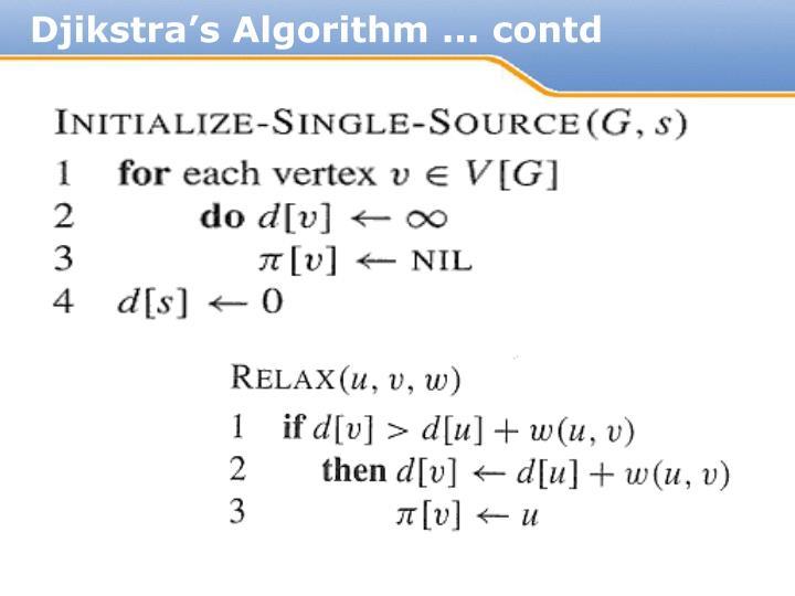 Djikstra's Algorithm ... contd