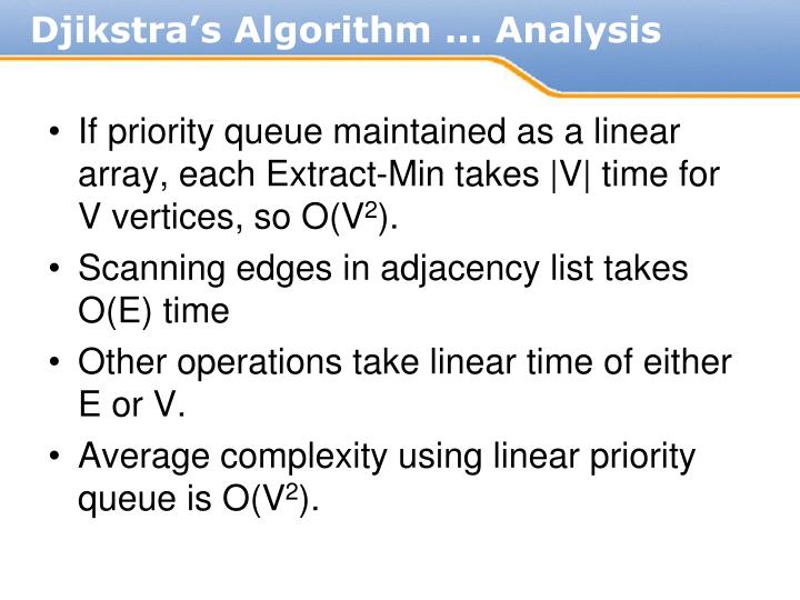 If priority queue maintained as a linear array, each Extract-Min takes |V| time for V vertices, so O(V