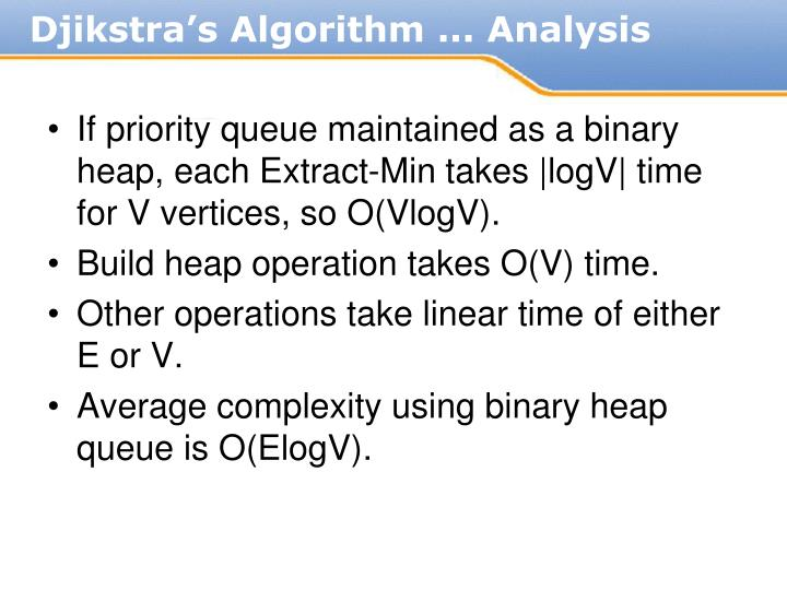 If priority queue maintained as a binary heap, each Extract-Min takes |logV| time for V vertices, so O(VlogV).