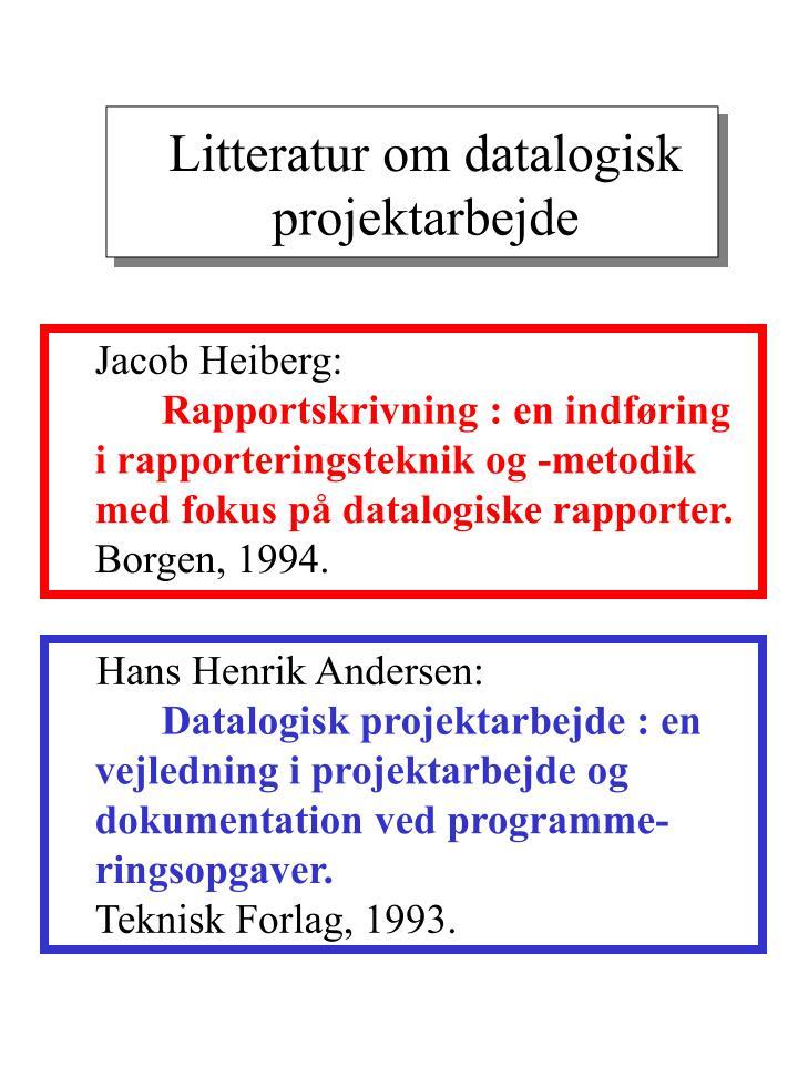 Litteratur om datalogisk projektarbejde