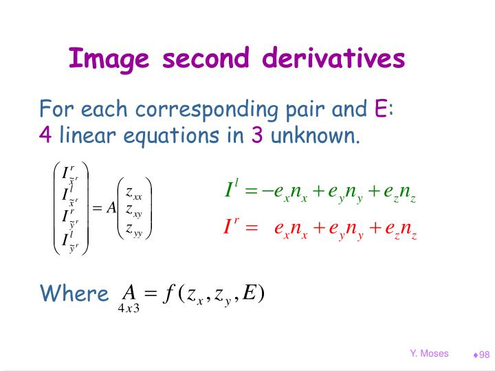 Image second derivatives