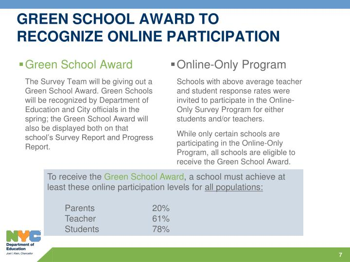GREEN SCHOOL AWARD TO RECOGNIZE ONLINE PARTICIPATION