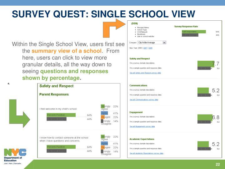 SURVEY QUEST: SINGLE SCHOOL VIEW