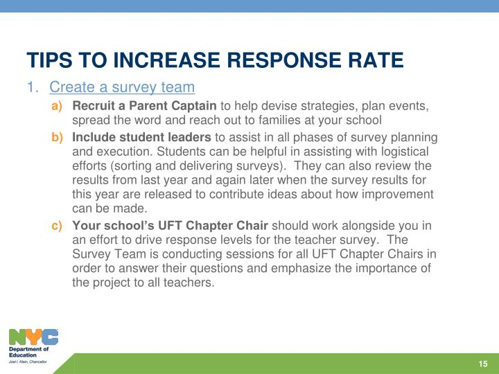 TIPS TO INCREASE RESPONSE RATE