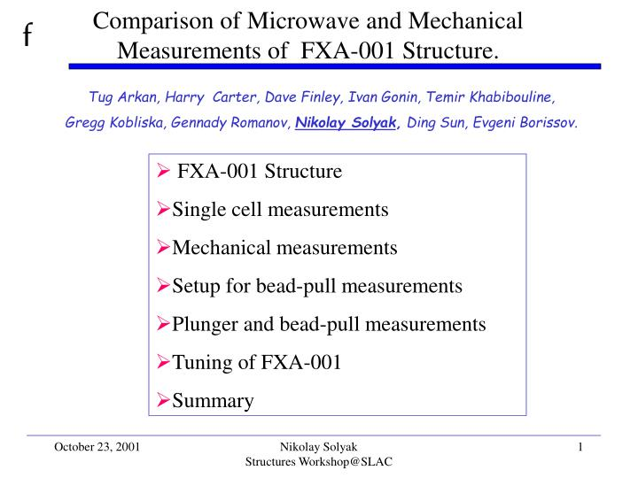 comparison of microwave and mechanical measurements of fxa 001 structure n.