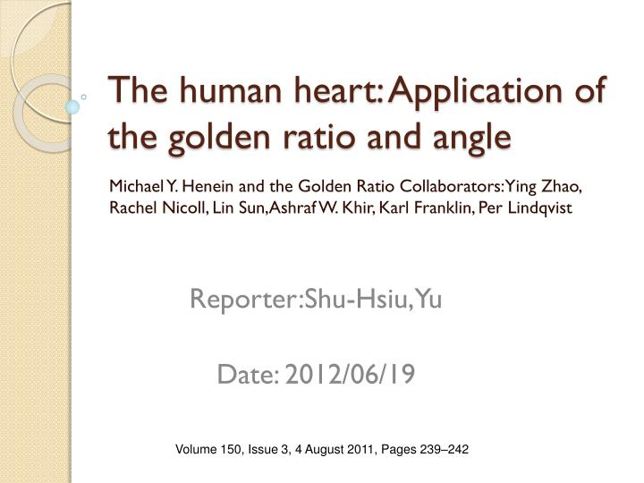 the human heart application of the golden ratio and angle n.