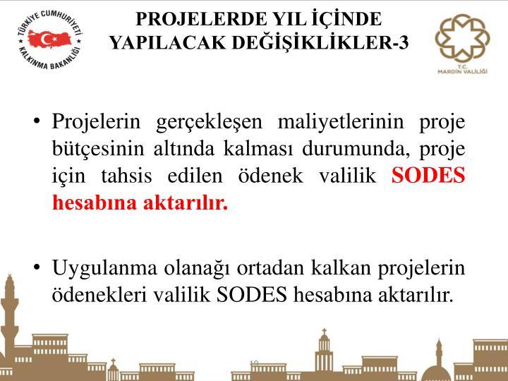 Projelerin gerçekleşen maliyetlerinin proje bütçesinin altında kalması durumunda, proje için tahsis edilen ödenek valilik