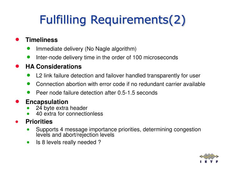Fulfilling Requirements(2)