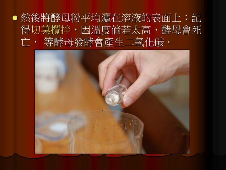 然後將酵母粉平均灑在溶液的表面上;記得