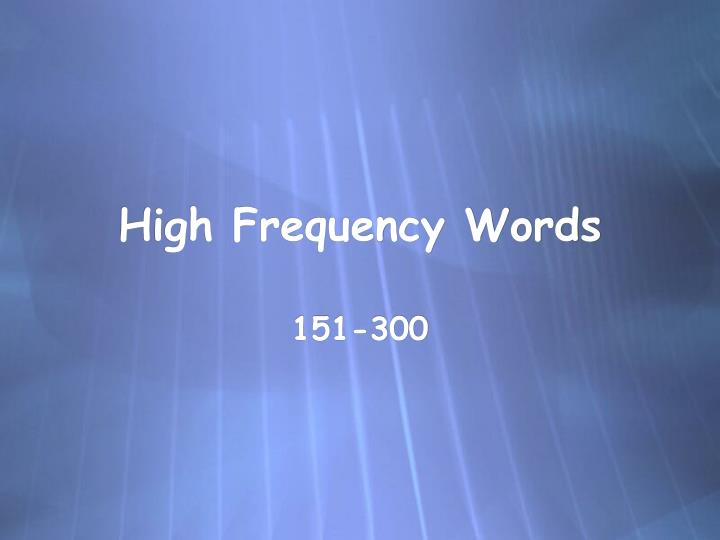 high frequency words n.