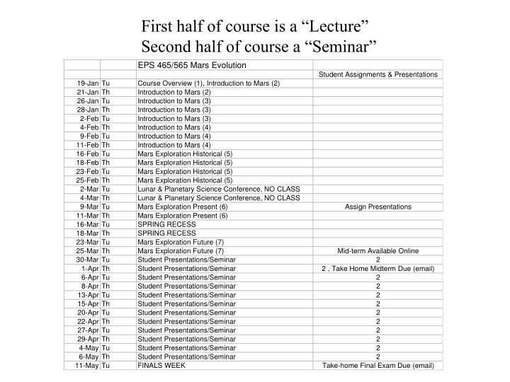 """First half of course is a """"Lecture"""""""