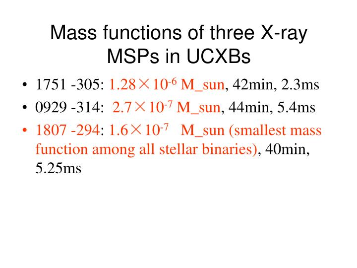 Mass functions of three X-ray MSPs in UCXBs