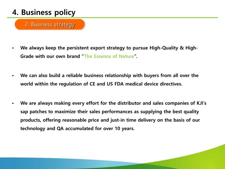 4. Business policy