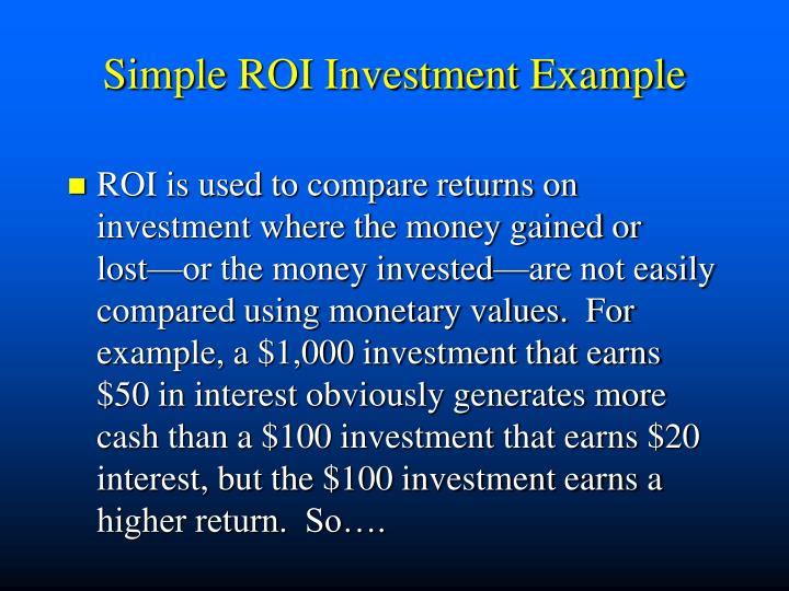 Simple ROI Investment Example