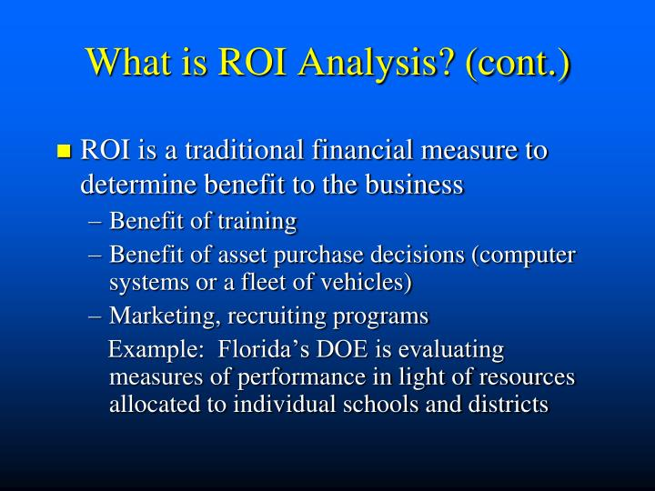 What is roi analysis cont