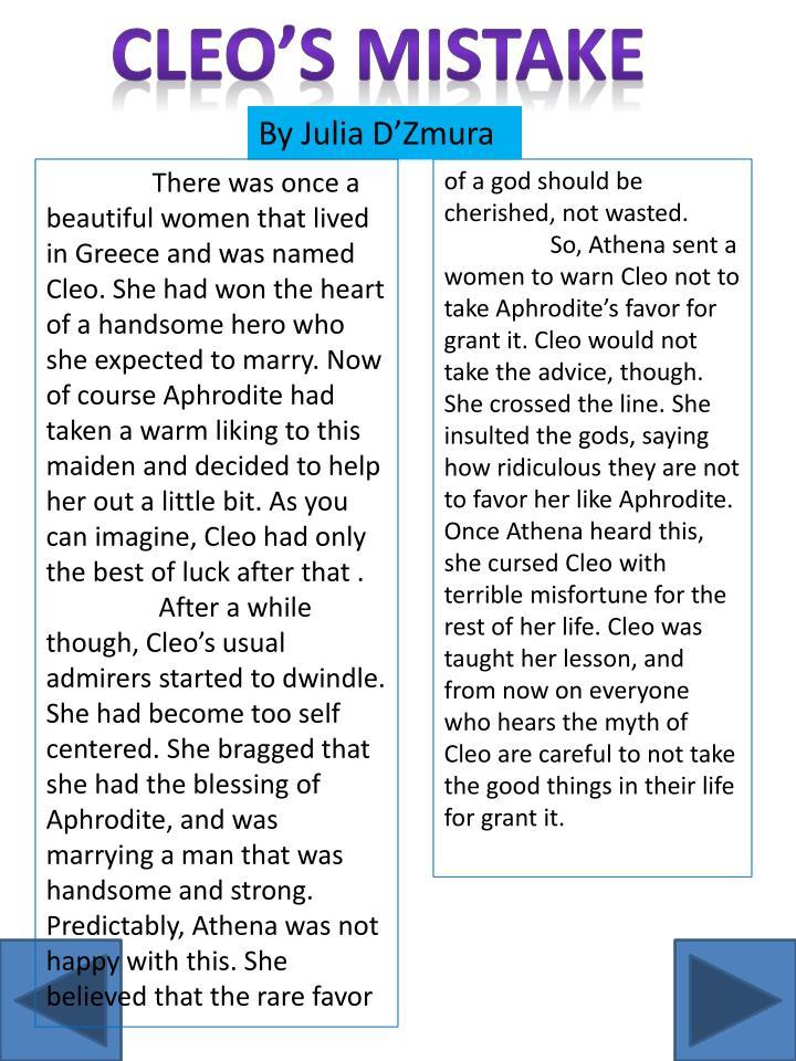 Cleo's mistake