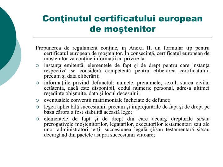 Conţinutul certificatului european de moştenitor