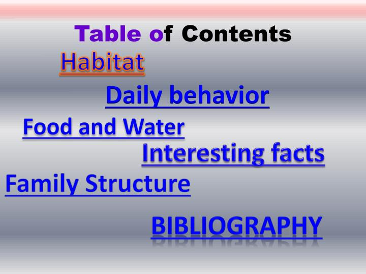 Table o f contents