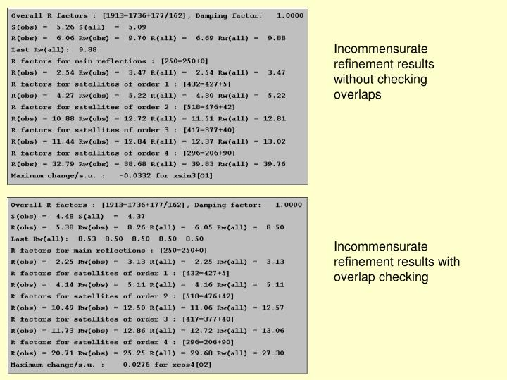 Incommensurate refinement results without checking overlaps