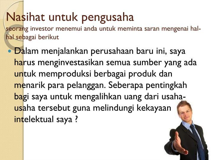 Nasihat untuk pengusaha