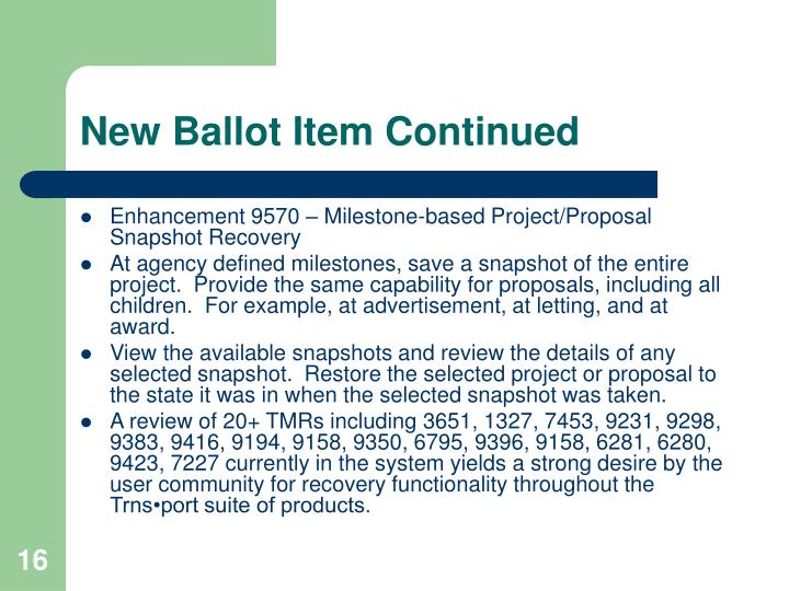 New Ballot Item Continued