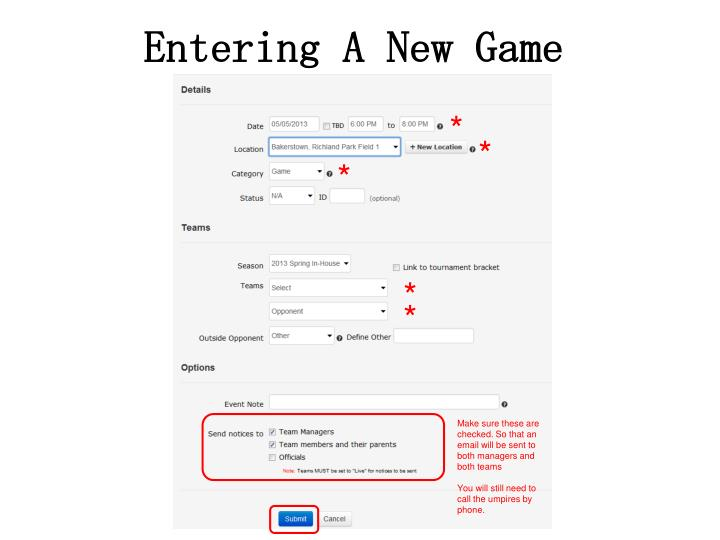 Entering A New Game