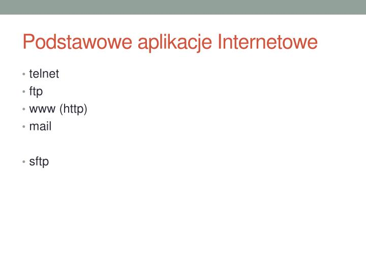 Podstawowe aplikacje Internetowe