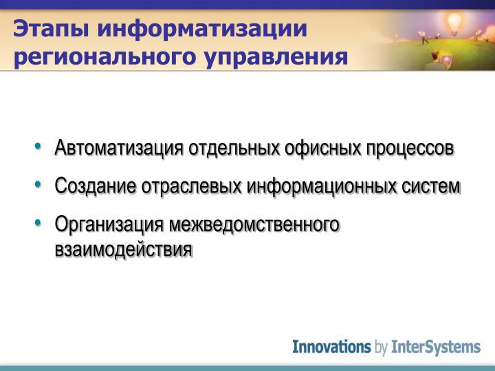 Этапы информатизации регионального управления