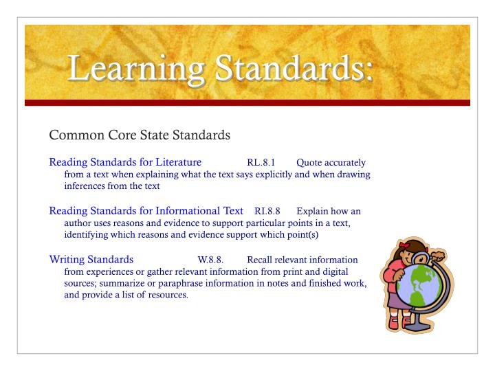 Learning Standards: