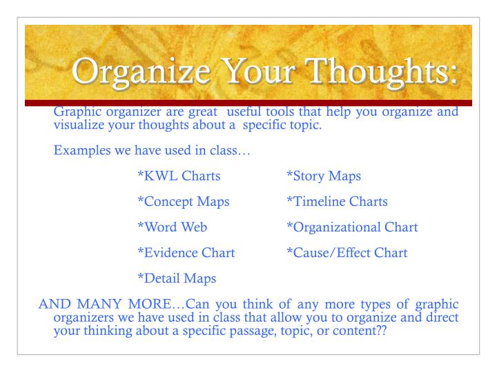 Organize Your Thoughts: