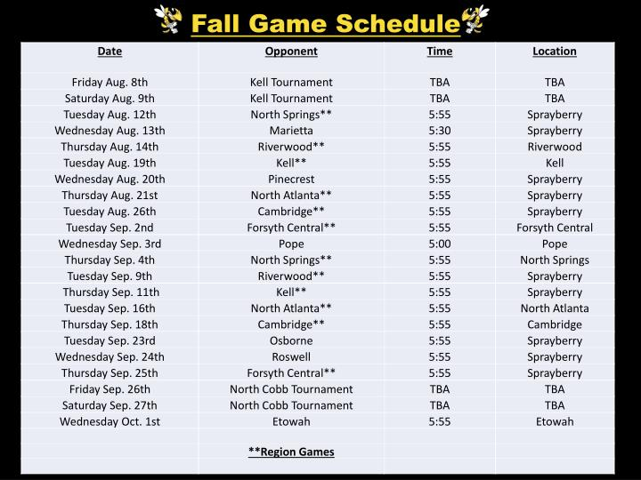 Fall Game Schedule