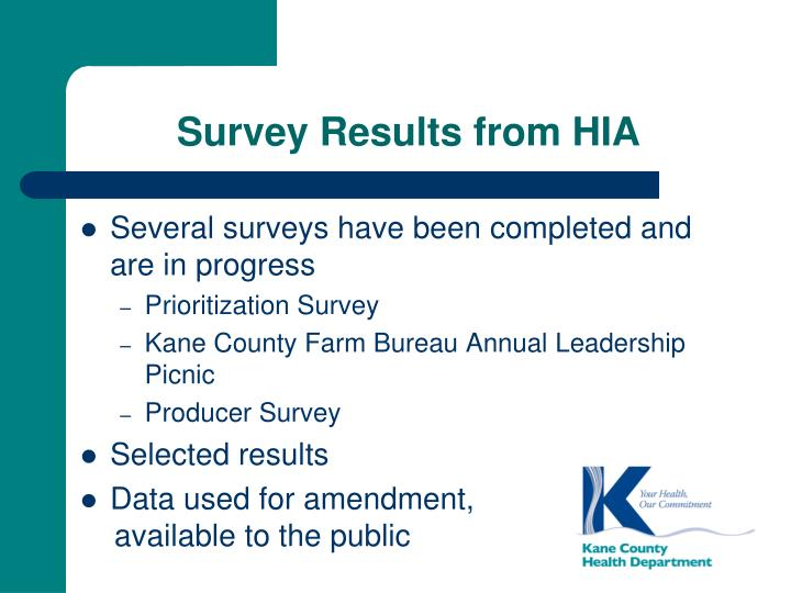 Survey Results from HIA