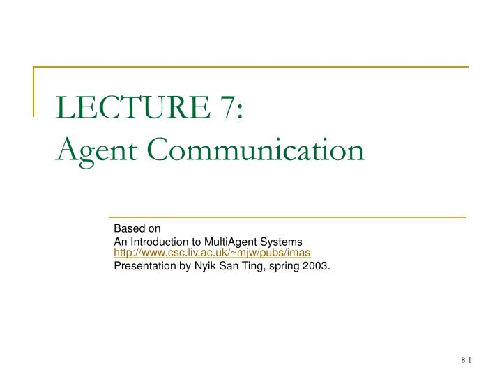 lecture 7 agent communication n.