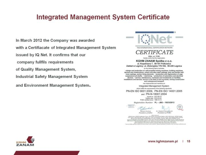 Integrated Management System Certificate