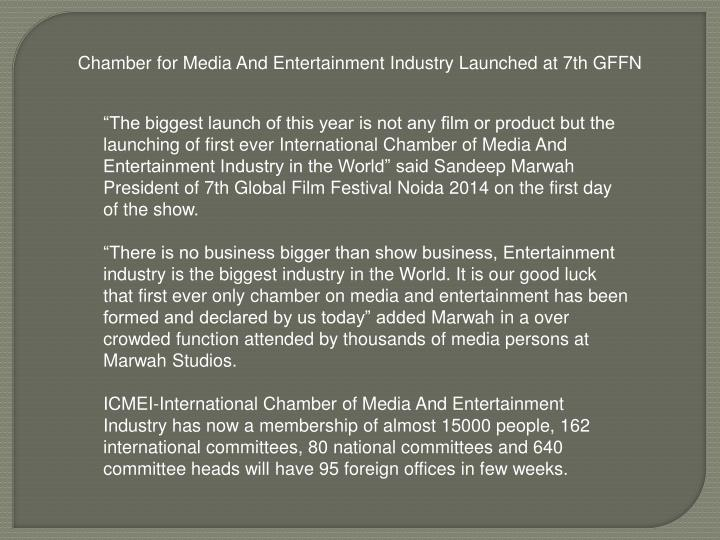 Chamber for Media And Entertainment Industry Launched at 7th GFFN