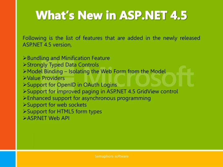 What's New in ASP.NET 4.5