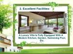 a luxury villa is fully equipped with a modern kitchen garden swimming pool etc