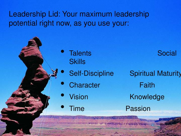 Leadership Lid: Your maximum leadership potential right now, as you use your:
