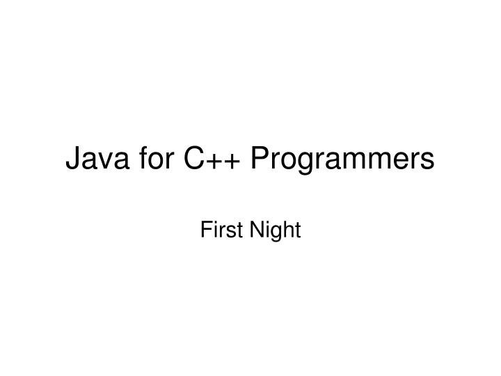 java for c programmers n.