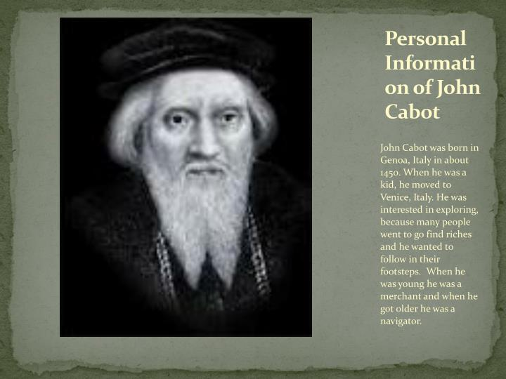 Personal information of john cabot