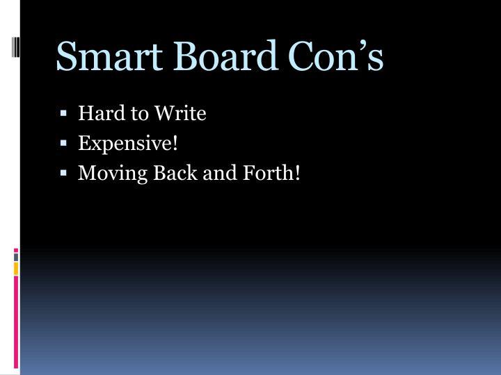 Smart Board Con's