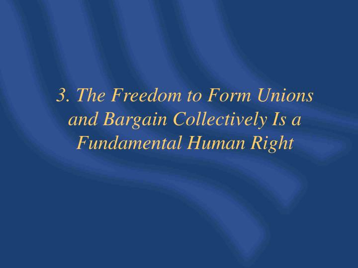 3. The Freedom to Form Unions and Bargain Collectively Is a Fundamental Human Right