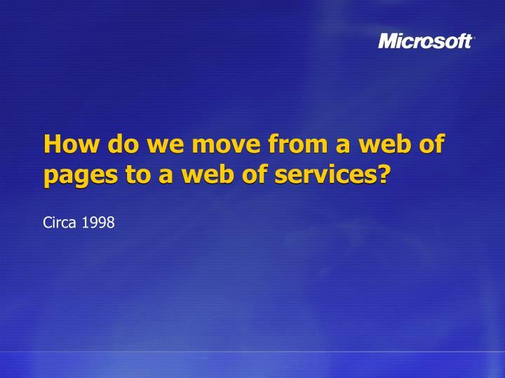 How do we move from a web of pages to a web of services?